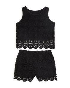 AQUA Girls' Crochet Crop Top