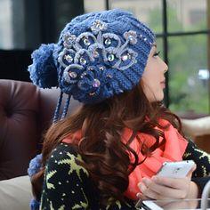 Peacock flower knit hat for women fleece winter hats with hairball