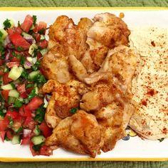 Skillet Shawarma, Israeli Salad and Hummus