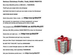 #THOUSANDS in #profits will be headed into their #bank accounts in time for the #holidays. No strings, no commitments, no selling, no emails, no research, no hard work. Just a couple of mouse clicks, then watch what  #Santa deposits into YOUR account!