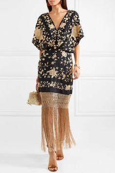 Black and gold silk, gold macramé Concealed zip fastening along back silk Dry clean Gold Silk, Black Silk, Fashion 2020, Girl Fashion, Corsage, Caftan Dress, Kaftan, Fringe Dress, Embroidered Silk