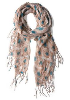 peacock feathers printed scarf