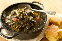 "Spicy Collard Greens // Perfect ""good luck"" food for New Year's Day! #holiday #recipe"