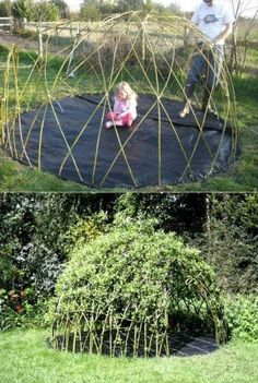 Children are all fond of spending time outdoor, consider creating a real beautiful place for them to play. Building a living playhouse is that good idea! The living playhouse will last for years, continually changes, and fits in naturally in