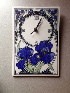 Santa Barbara Ceramic Design Clock with Blue Iris Ceramic Design, Santa Barbara, Iris, Clock, Ceramics, Blue, Decor, Ebay, Watch
