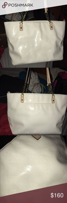 White MK purse White mk purse wig brown straps. In great condition Michael Kors Other