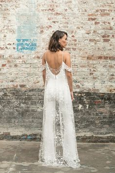 We think a bridal jumpsuit can rival any wedding dress! This dreamy jumpsuit is from the Rime Arodaky Civil collection. The lace cape… Bridal Outfits, Bridal Gowns, Wedding Shower Outfits, Bridal Shower Dresses, Bridal Dresses 2018, Shower Dress For Bride, White Bridal Shower Dress, Bridal Shower Attire, Wedding Gowns