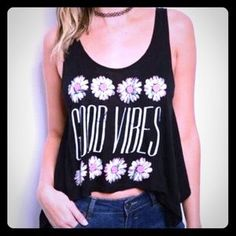 "I just discovered this while shopping on Poshmark: 💞💞🌸☮️"" Good Vibes"" tank top ☮️🌸🌸💟. Check it out! Price: $15 Size: Various, listed by urbanlove"