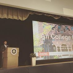 #CCAC President Quintin Bullock (@QBpresCCAC) delivers the President's Address at the #CCAC All College Day.