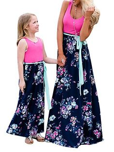 bbbf65553ab Mommy and Me Dresses Casual Floral Family Outfits Summer Matching Maxi  Dress Mommy And Me Dresses