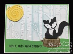 handmade card ... skunk from the Foxy Friends suite ... scene with birch tree embossing folder  background ... Swirly Bird die cut sun ... luv it! ... Stampin' Up!