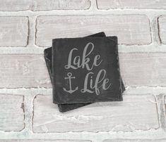 Lake Life - Lake Life Coasters - Lakehouse Coasters - Slate Coasters - Engraved Coasters - Coaster S