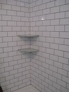 White Subway Tile Shower Frost Grout By Mapei Like The Idea To Go All The Way To The Ceiling And The Cut Out For The Toiletries Pinterest
