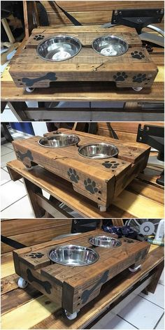 Giant and best project of the wood pallet dog feeder is resting upon here for you. This design project of wood pallet do features the whole dog bowl stand impact of the designing being added with the beauty effects of wood and in the bottom area, you will catch the superb finishing.