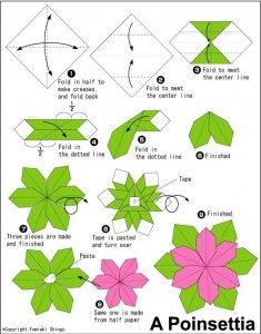 Diy paper flowers using a teabag folding technique art paper diagram tutorial how to fold an origami poinsetta flower mightylinksfo