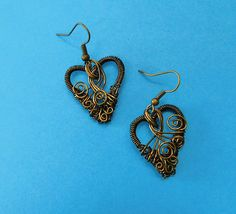 Romantic Jewelry Gift for Wife, Unique Handmade Woven Copper Wire Heart Earrings Girlfriend Gift Jewelry