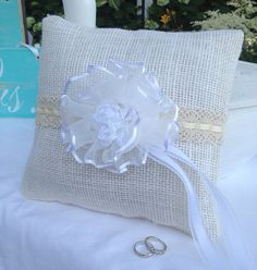 Rustic Bridal ring bearer pillow cream burlap white with white bow great for wedding, marriage, anniversary, chic on Etsy, $19.99