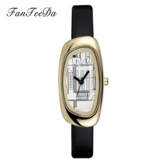 >> Click to Buy << FanTeeDa Brand Student Personality Watches Women Irregular Gold Dial Quartz Watch Ladies Leather Strap Female Clock Wristwatch  #Affiliate
