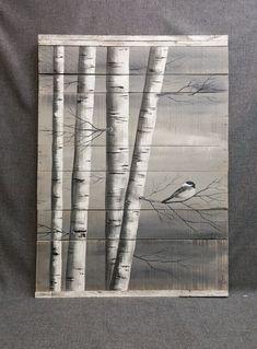 Gray Pallet Art White Birch Painting LARGE by TheWhiteBirchStudio