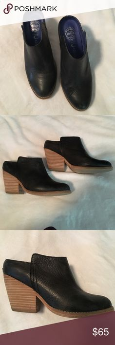 Blank leather booties with stacked wooden heel Beautiful black booties with stacked wooden heel- very comfy. Sized a 7, but fit like a 6. Jeffrey Campbell Shoes Ankle Boots & Booties