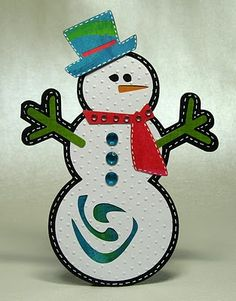 Snowman card.  This was made using a Gypsy, but could be adapted to Cricut.