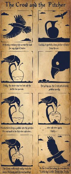 """Wild Wednesday For today's animal, comic mash-up I had to do one of my favorite Aesop's Fable, """"The Crow and the Pitcher"""". I tried to go for a wood carving or shadow puppet type look for this strip. I'm quite happy with how it turned out."""