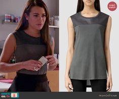 Rachel's grey top on Glee.  Outfit Details: http://wornontv.net/46527/ #Glee