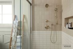 The Forte showerhead and handshower add a distinct elegance to the showering space. Bathroom Rules, Bathroom Toilets, Bathroom Trends, Bathroom Ideas, Brown Bathroom, Modern Bathroom, Large Bathrooms, Small Bathroom, Master Bathrooms