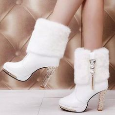 Buy Womens Boots Winter Warm Platform Ankle Boots Shoe Buckle Womens High Heels Fashion Shoes Black White at Wish - Shopping Made Fun Leather High Heels, High Heels Stilettos, Pu Leather, Shoes Heels, Cute Shoes Boots, Platform Stilettos, Leather Shoes, Winter Fashion Boots, Fashion Shoes