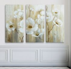 'Shimmering Blossoms' Acrylic Painting Print Multi-Piece Image on Gallery Wrapped Canvas Light Green Walls, Canvas Art, Canvas Prints, Art Store, Metal Wall Art, Online Art Gallery, Painting Prints, Gallery Wall, Artwork