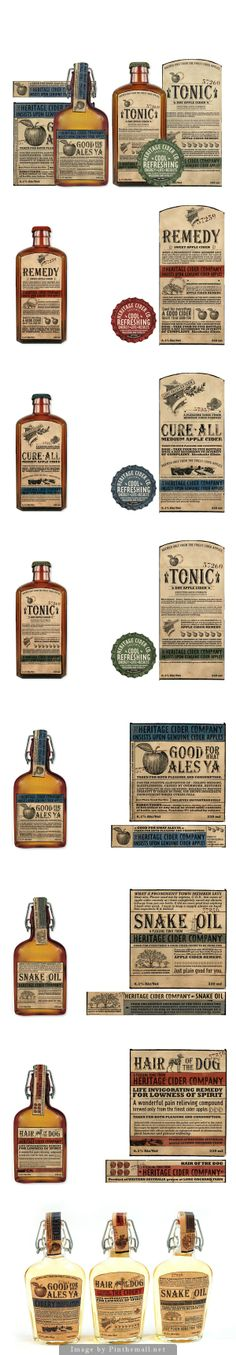 Heritage Cider curious remedy #packaging PD - created via http://www.packagingoftheworld.com/2012/08/the-heritage-cider-company.html