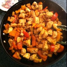 Pineapple Chicken Stir Fry with Bell Peppers (And Frank's Red Hot Sauce)!! Chicken cut into cubes, red and orange bell peppers, 16 oz. pineapple, 1/4 cup hot sauce, 1 tsp. oregano and some S+P! So easy and so good :) Made it for dinner tonight with rice! Oh, and the stir fry is 3 WW points plus for two cups!!