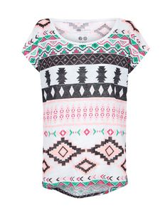 SuiteBlanco- Camiseta lino estampado étnico