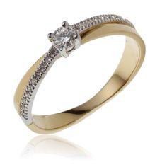 pourrait être THE bague n°2  Bague femme, diamant 0,13 ct, diamant 0,20 ct, 2 ors, 2.42g, Style classique - Manège à Bijoux 545€