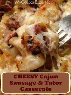 Cheesy Cajun Sausage & Tator Casserole MCE