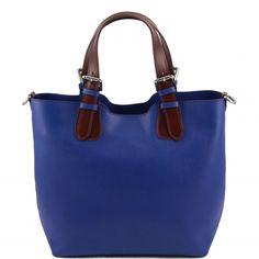 Handtas in textuur leer in de nieuwe herfstkleuren donkerbruin, caramel, rood, zwart. blauw. Afneembare schouderriemen.  - &euro