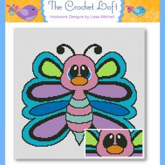 (4) Name: 'Crocheting : Butterfly Cutie Throw Graphghan