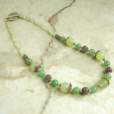 Green Aventurine and New Jade Necklace, Artisan Metal, 18 inches, Handmade Jewelry for Women. $42.95, via Etsy.