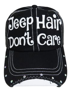 "NEW! White Glitter ""Jeep Hair Don't Care"" Black Baseball Cap With Rhinestones on the bill of the Cap!  Order at www.shopspiritcaps.com"