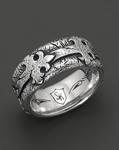Scott Kay Men's Sterling Silver Distressed Fleur de Lis Band Ring | Bloomingdale's