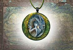 Dragon  Huge green pendant fantasy jewellery hand-made