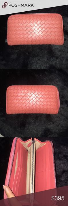 Bottega Veneta Intrecciatto Wallet Beautiful, soft, and lamb skin wallet by Bottega Veneta. Previously loved. Intrecciato Continental zip around. Has some signs of wear and tear, have yet to try to clean it. Zipper closure and zipper pocket inside. Beautiful coral color. Purchased in Milan, Italy. 100% authentic, guaranteed by me. Bottega Veneta Bags Wallets