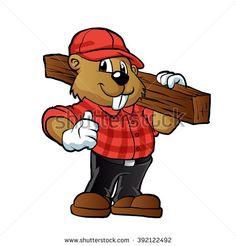 Beaver Cartoon, Canada Logo, Le Castor, Woodworking Square, Mascot Design, Wood Planks, Clipart, Cartoon Characters, Vector Art