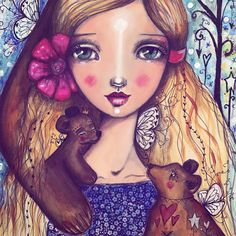 Detail of my #everafter2017 fairytale lesson! My story is Goldilocks and the 3 Bears. I'm transforming my 3 bears into noble compassionate bears that look after Goldi. :) sign up to this class opens on May 17th! :) #willowingarts #willowing #mixedmedia #fairytaleart #goldilocks