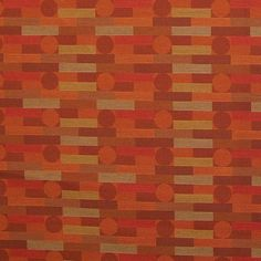 A background of orange, red and multi-colored stripes with alternating orange and brown colored circles makes this Crypton upholstery fabric both attractive and durable. Polyester blend content.