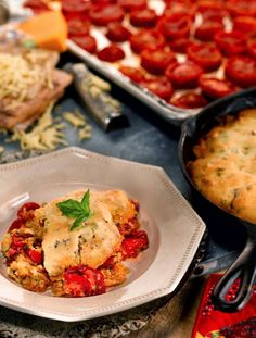 Roasted Tomato & Bacon Cobbler - National Cornbread Cook-Off Grand Prize Winner!   {via The Country Cook}