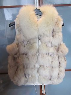 GILET PELLICCIA VOLPE Bianca/GRIS Pelle NUOVA Lether Fur Smanicato Bomber New S