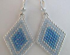 Seed Bead Beadwoven Earrings Aqua by pattimacs on Etsy