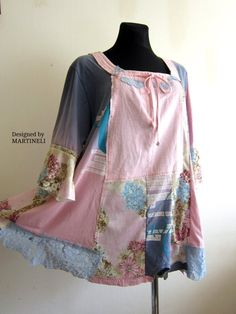 3adcebf59a 3XL Shabby Chic Tunic Gypsy Tunic Plus Size Clothing Boho Plus Size Linen  Tunic Lagenlook Hippie Upcycled Plus Pink Tunic Patchwork Tunic