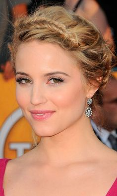 WEDDING HAIRSTYLES: CELEBRITY HAIR INSPIRATIONS WE LOVE!  Dianna Agron's Hairstyle Gives A Grecian Twist To Wedding Hair, Team With A Maxi Dress For Ultimate Impact, 2012.